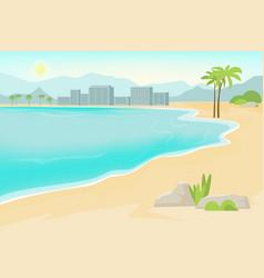 Seaside sand beach cartoon flat vector