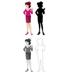 set air hostess character vector image