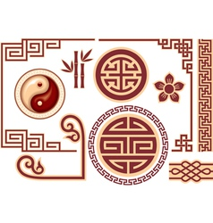 set chinese oriental design elements vector image