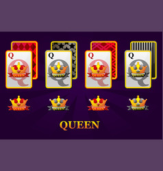 set four queens playing cards suits for poker vector image