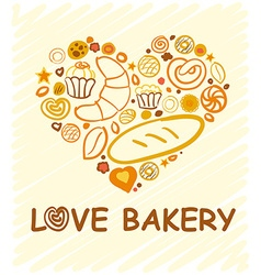 Set of baking love bakery hand-drawn for your vector image