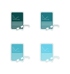 Set of paper stickers on white background economic vector