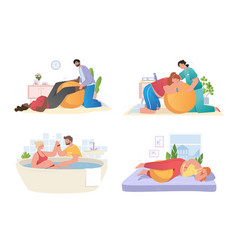 Set with pregnant women preparing for childbirth vector