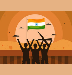 Silhouette army officers with indian flag vector