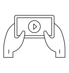 Smartphone video live icon outline style vector