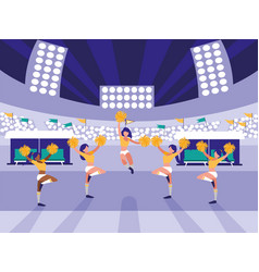 Stadium scene with group of cheerleaders vector