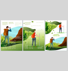 summer camp travel posters set - man woman vector image
