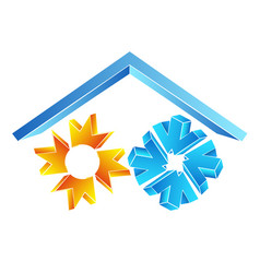 Sun and snowflake under the roof symbol vector