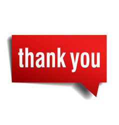 Thank you red 3d realistic paper speech bubble vector