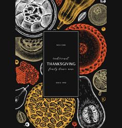 thanksgiving desserts menu design hand sketched vector image
