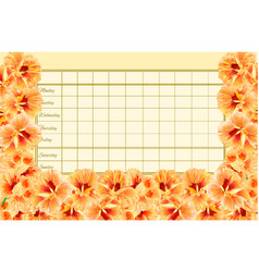 Timetable weekly schedule with spring flowers vector