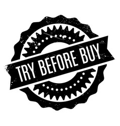 Try before buy rubber stamp vector