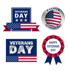veterans logo set realistic style vector image