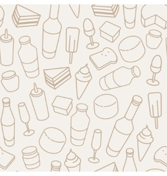 Vintage food thin line icon seamless pattern vector image