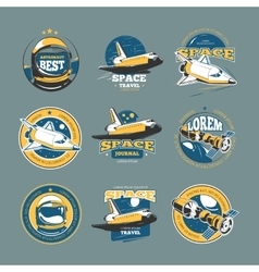 Vintage space and astronaut colored badges vector image