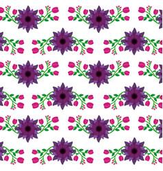 violet and pink flowers natural pattern design vector image