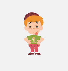 White boy in jeans in waiting attitude with funny vector