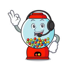 With headphone gumball machine mascot cartoon vector