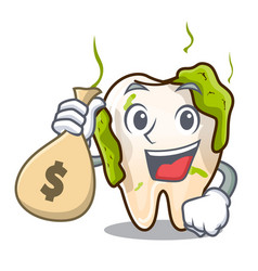 With money bag character unhealthy decayed teeth vector