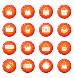 Woman bag types icons set red vector