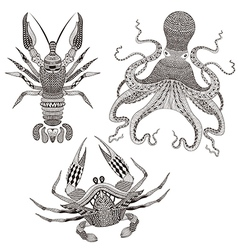 Zentangle stylized Octopus King Crab Crayfish Hand vector