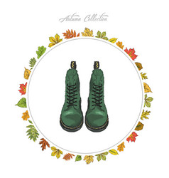 autumn boots hand draw shoes autumn collection vector image