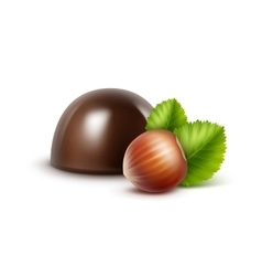 Dark black bitter chocolate candy with hazelnuts vector