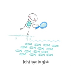 ichthyologist looks at the fish through a vector image vector image