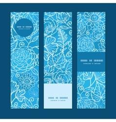 Blue field floral texture vertical banners set vector