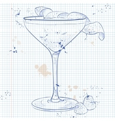 Clover Club Cocktail on a notebook page vector image