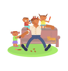 father and children vector image