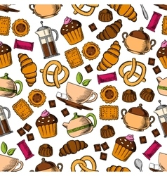 Pastries sweets with tea drinks seamless pattern vector image vector image