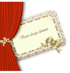 elegant invitation with gold bow and red curtain vector image vector image