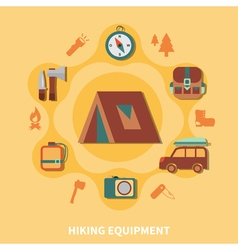 Hiking Equipment For Tourists vector image vector image