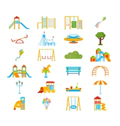 Playground Flat Elements Set vector image vector image