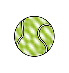drawing tennis ball sport competition element vector image