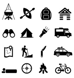 leisure camping and recreation icons vector image vector image