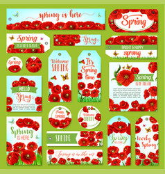 Springtime holiday greeting tag and gift label set vector