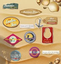Summer Design Elements on sand background vector image vector image