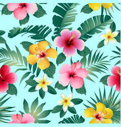 tropical flowers and leaves on dark gray vector image vector image