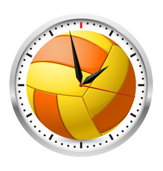 wall clock volleyball style on white background vector image vector image