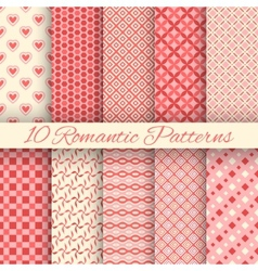 10 Romantic seamless patterns tiling vector