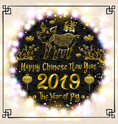 2019 design template chinese new year of pig vector image