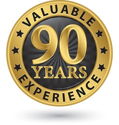 90 years valuable experience gold label vector