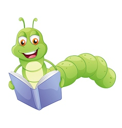 A smiling worm reading vector