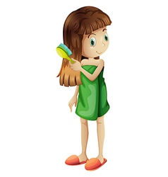 A young girl combing her long hair vector
