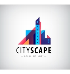 abstract colorful city building vector image