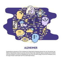alzheimer s symptoms round concept banner in line vector image