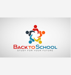 Back to school people group logo vector
