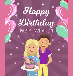 banner written happy birthday party invitation vector image